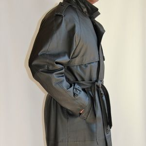 Stylish Men's Wilda Black Leather Lined long Coat